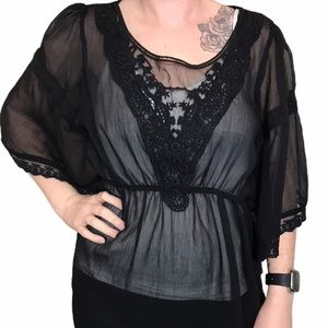 FREE PEOPLE Black Sheer Top w/Lace Detail, Size S